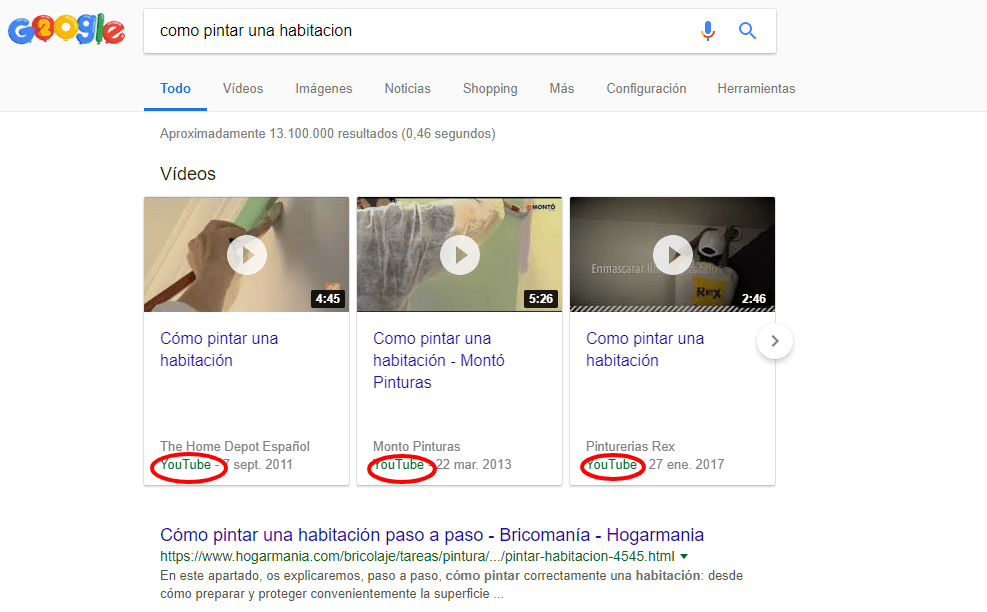 Featured snippet de vídeo